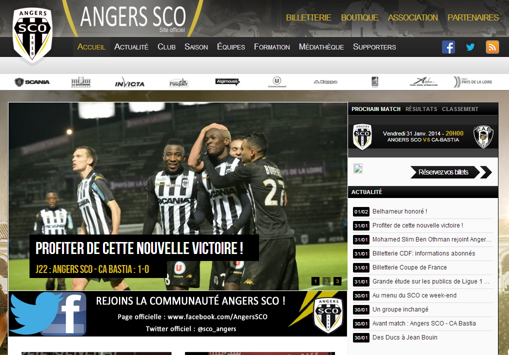 site officiel sco angers