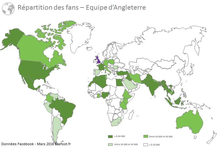 cartographie fans facebook équipe d'angleterre