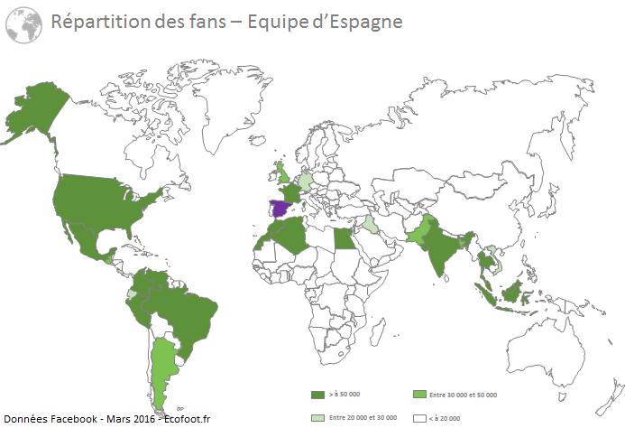 cartographie fans facebook équipe d'espagne