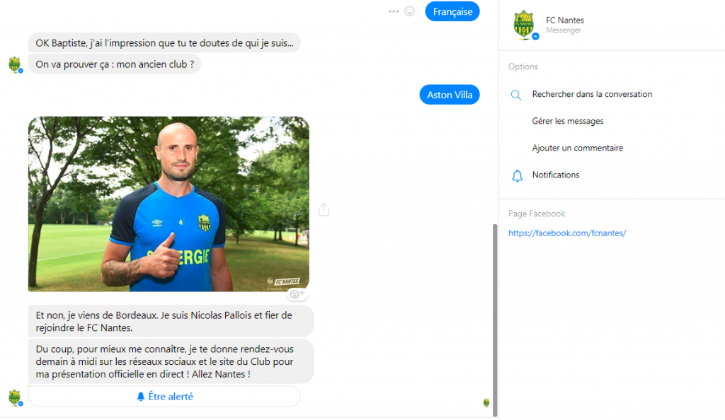 Nicolas Pallois bot facebook messenger